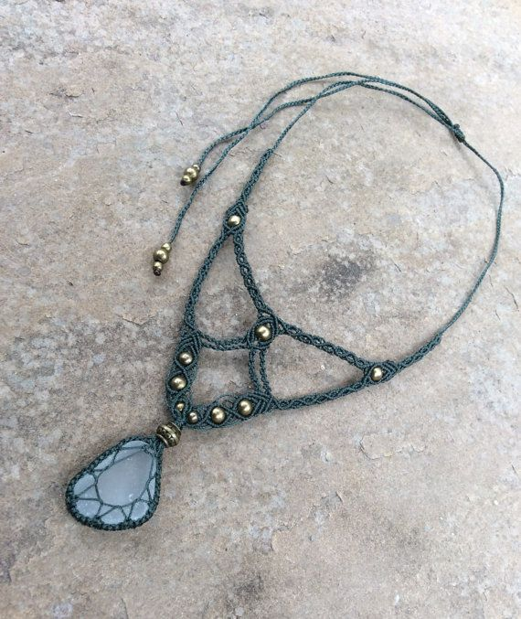 Handmade black macrame necklace with chrysocolla stone wooden beads and silver brass leaves and beads