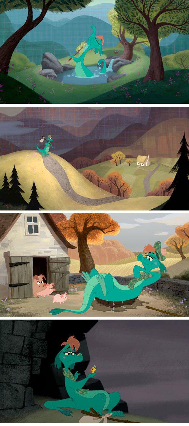 Artes do curta The Ballad of Nessie, da Disney | THECAB - The Concept Art Blog