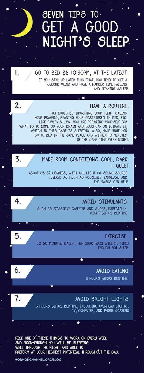 7 tips to get a good nights sleep.