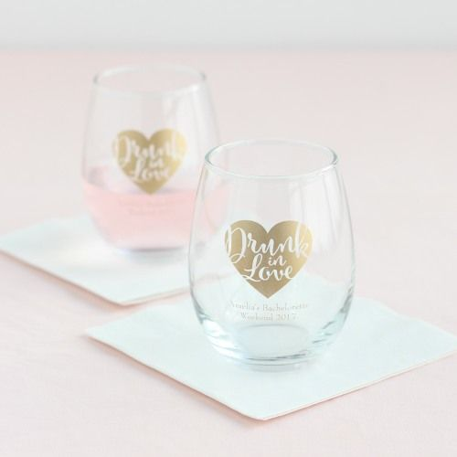 Personalized 9 Oz Stemless Wine Glass Favors And Weddings