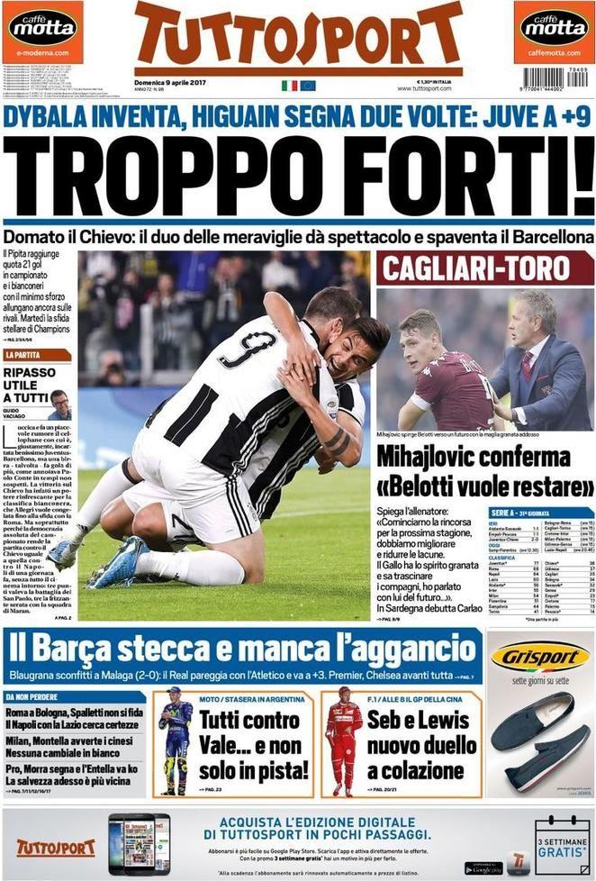 Prima Pagina Tuttosport 09/04/2017 Sport, Allenatore, Stampe