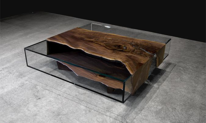 this glass low table with black walnut micro slab would be in my