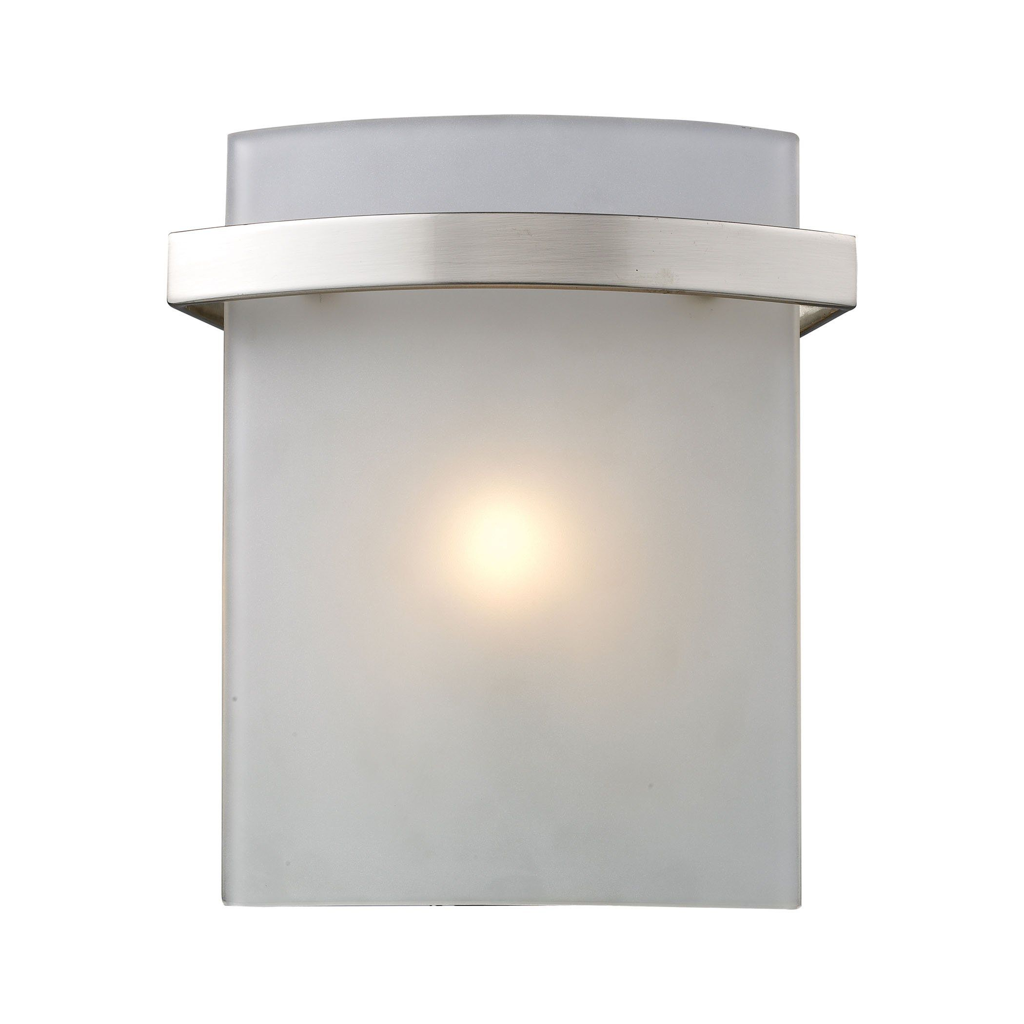 Briston 1 Light Vanity In Satin Nickel And Frosted White Glass by ELK