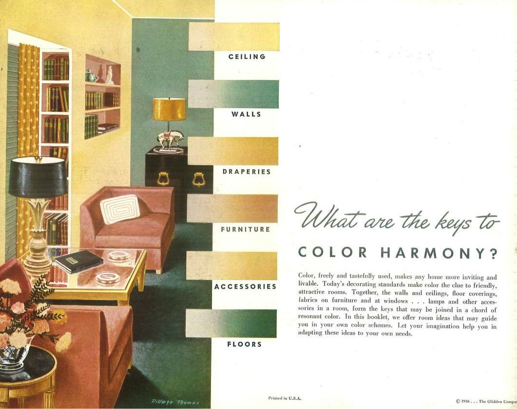 Color harmony online - Keys To Color Harmony In Your Home 1946 Glidden Company From The Association For