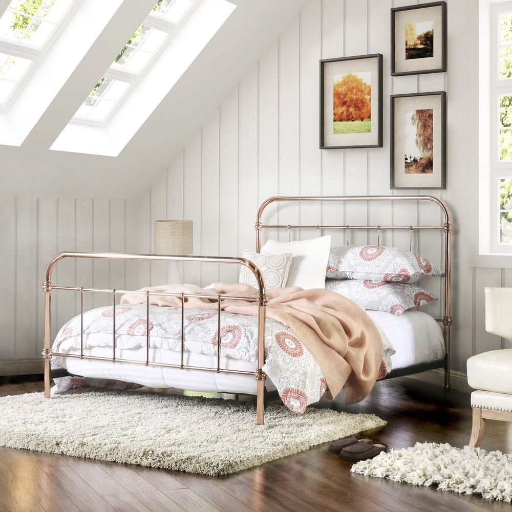 Furniture of America Melly Rose Gold Metal Twin Size Bed | Paisleys ...