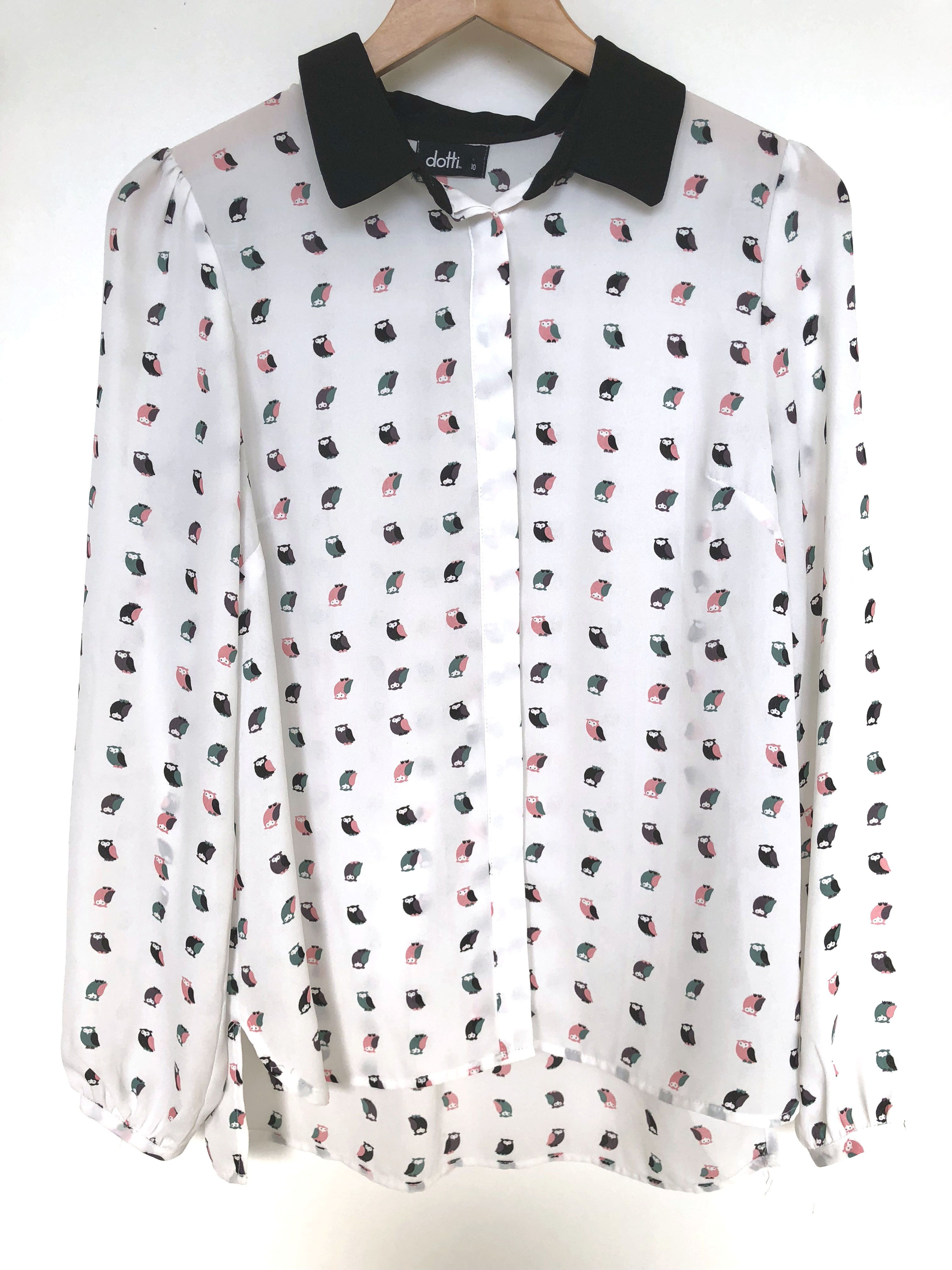 7ed9b241a2b DOTTI Ladies - Size 10 - White Long Sleeve Owl Patterned Button Up Blouse  Top