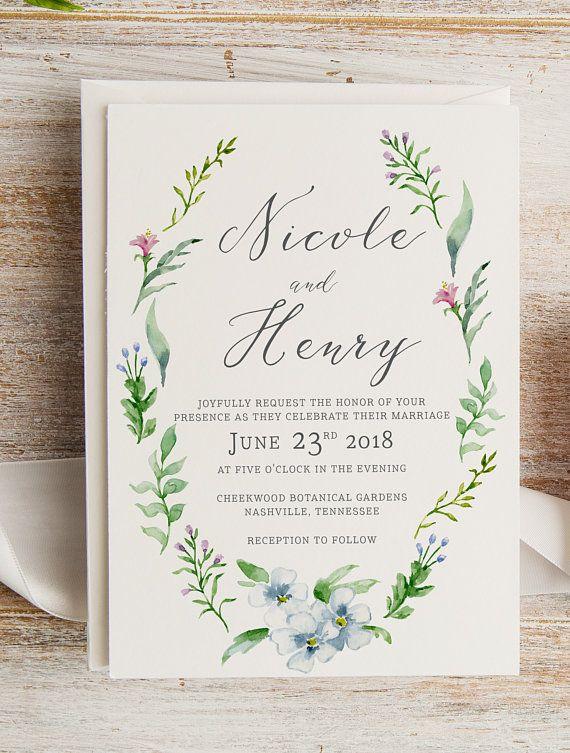 69761ade5057 Rustic Whimsical Watercolor Wreath Wedding Invitation