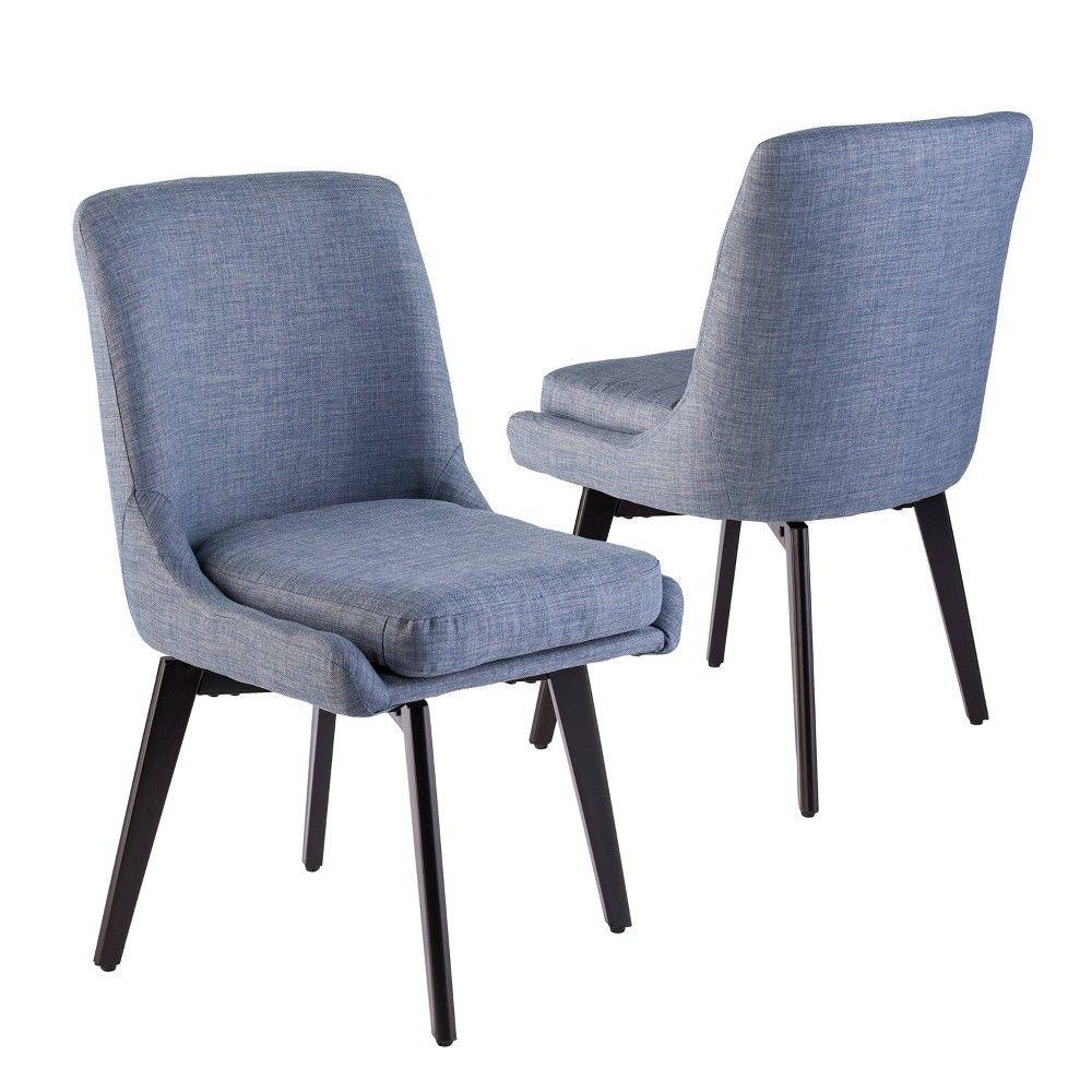 Best Set Of 2 Siobhan Swivel Accent Chairs Denim Blue Aiden 400 x 300