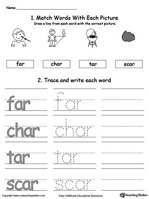 AR Word Family Connect, Trace and Write | Phonics, Worksheets and ...