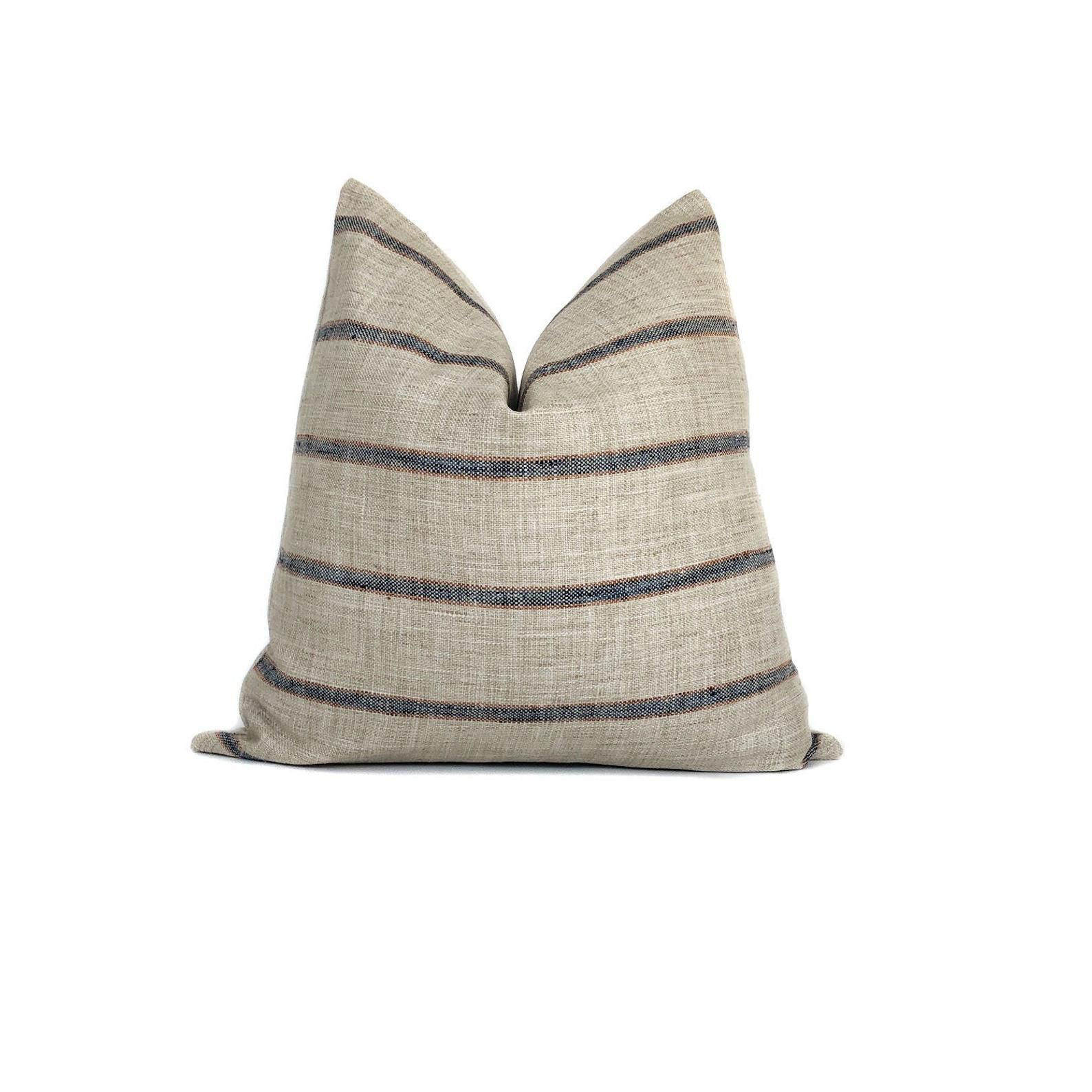 Farmhouse Stripe Pillow Cover Rustic Woven Blue and