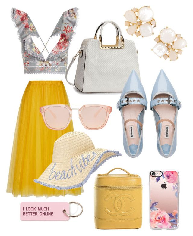 Summer Lovin by ilovepartystyle on Polyvore featuring polyvore, fashion, style, Zimmermann, Miu Miu, Kate Spade, Miss Selfridge, Casetify, Various Projects, Chanel, Rochas and clothing