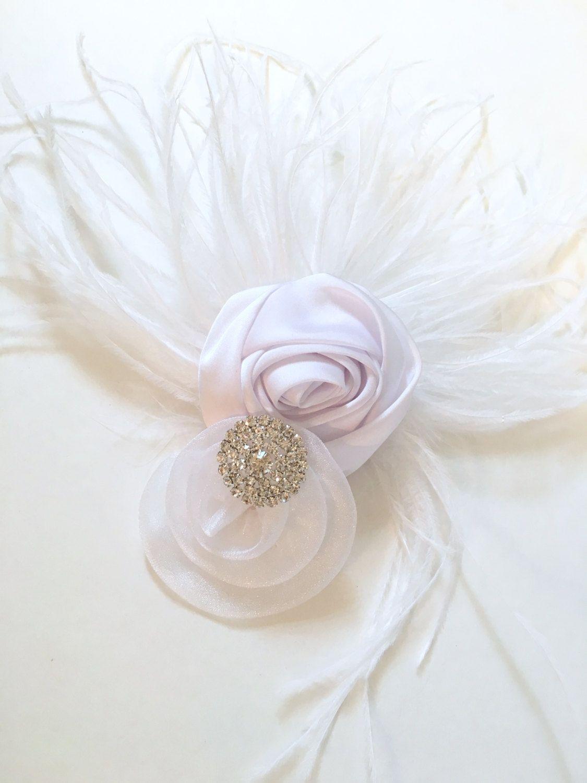 Vintage Bridal Hair Fascinator White Hair Flower Feather Hair Clip