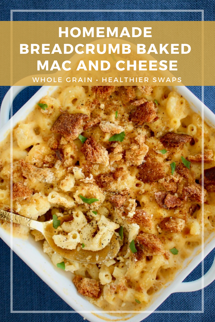 Homemade Breadcrumb Baked Mac and Cheese Sharp cheddar, muenster, and asiago makes for an indulgent, three cheese Homemade Breadcrumb Baked Mac and Cheese. Some simple healthy recipe swaps help reduce the fat, maintain the protein and increase the fiber content of this classic recipe.