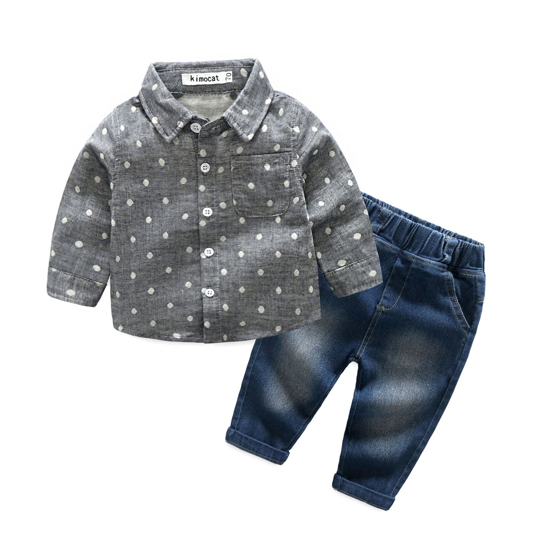 Toddler Infant Baby Boys Button T Shirt Tops Denim Pockets Long Pants Set Outfit