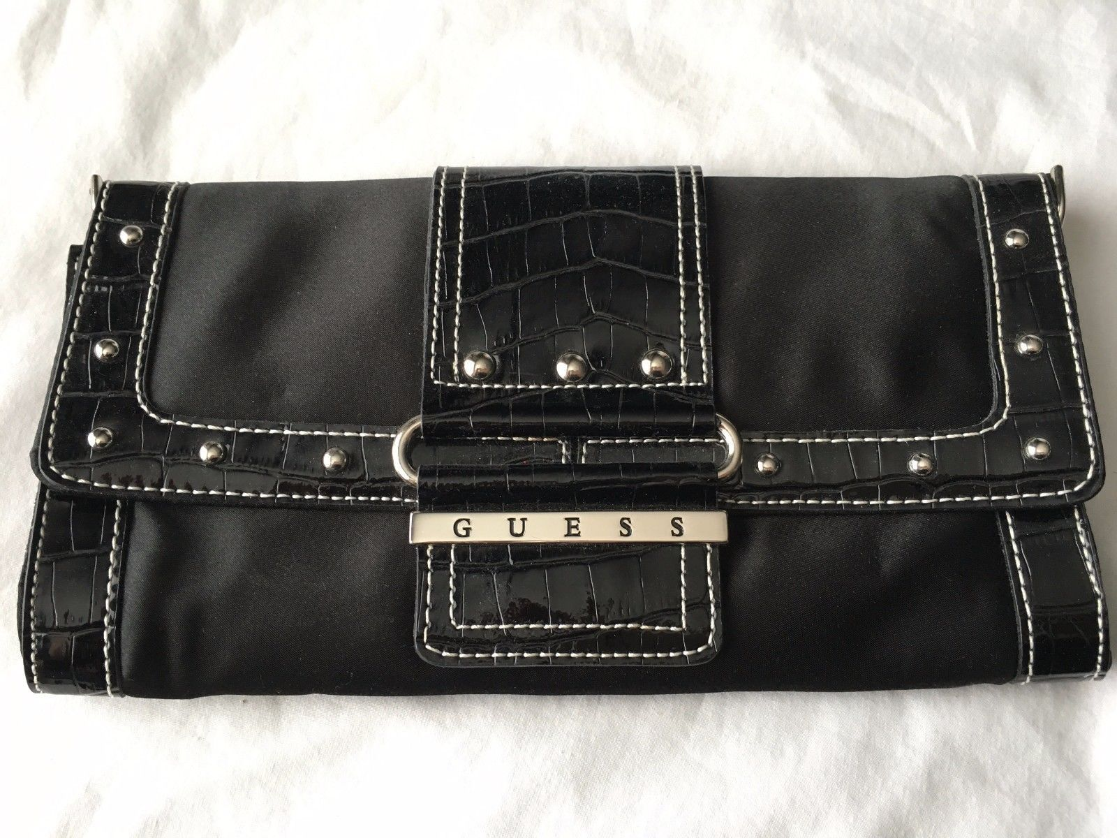 Leather Guess Black Satin Patent Trim Clutch Purse