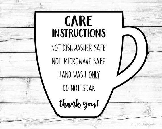 Mug Care Instructions Card Svg Cup Care Card Svg Digital Care Etsy In 2020 Cricut Cricut Svg Cricut Iron On Vinyl