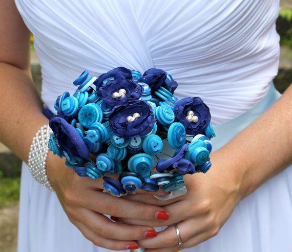 Colorful Bridal Party Button Bouquet Blue Flower por BridalBooties, $125.00