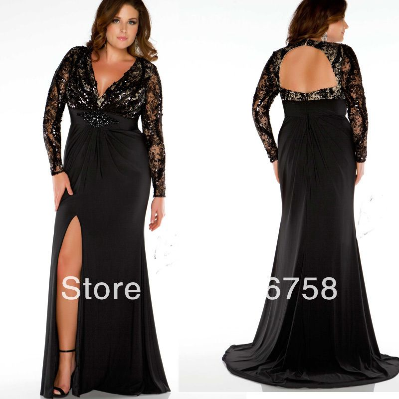 2013 Custom Made Floor Length Plunging Neckline Sequin Bodice High ...