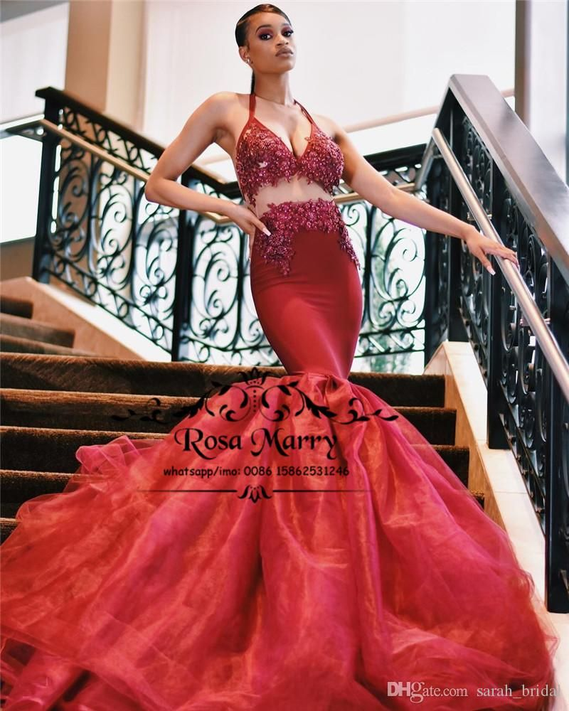 2816910391b Sexy Burgundy Plus Size Mermaid Prom Dresses 2K19 Halter Backless Vintage  Lace Sequined Beaded African Girls