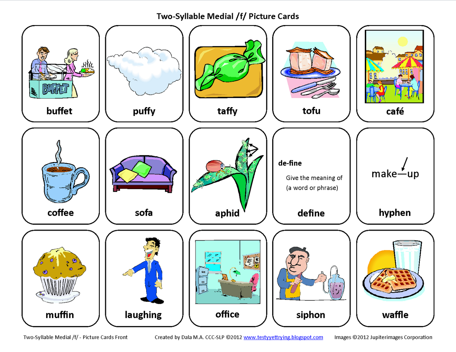 Medial F Free Speech Therapy Articulation Picture Cards