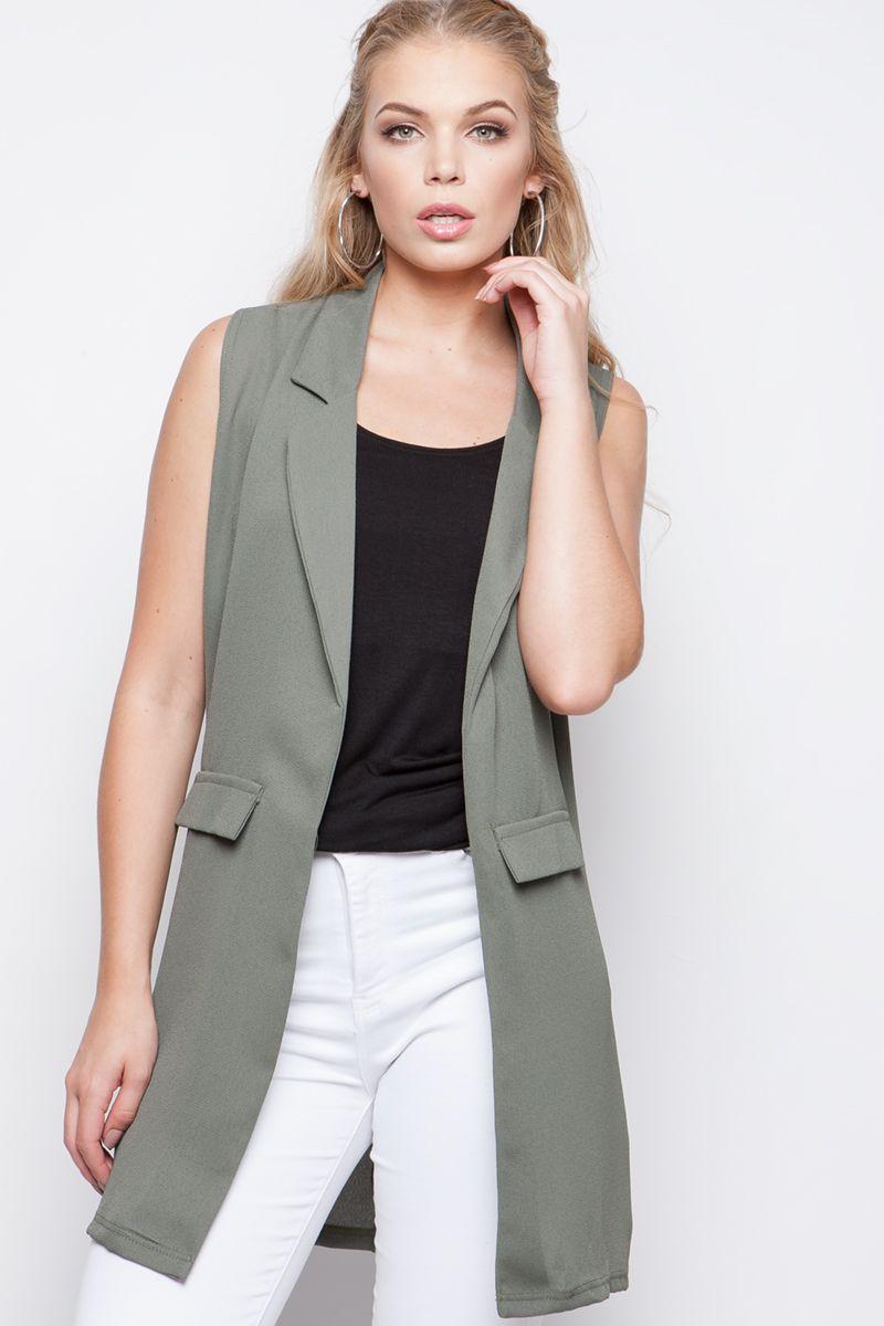 Carrie Khaki Tailored Sleeveless Jacket at Misspap.co.uk