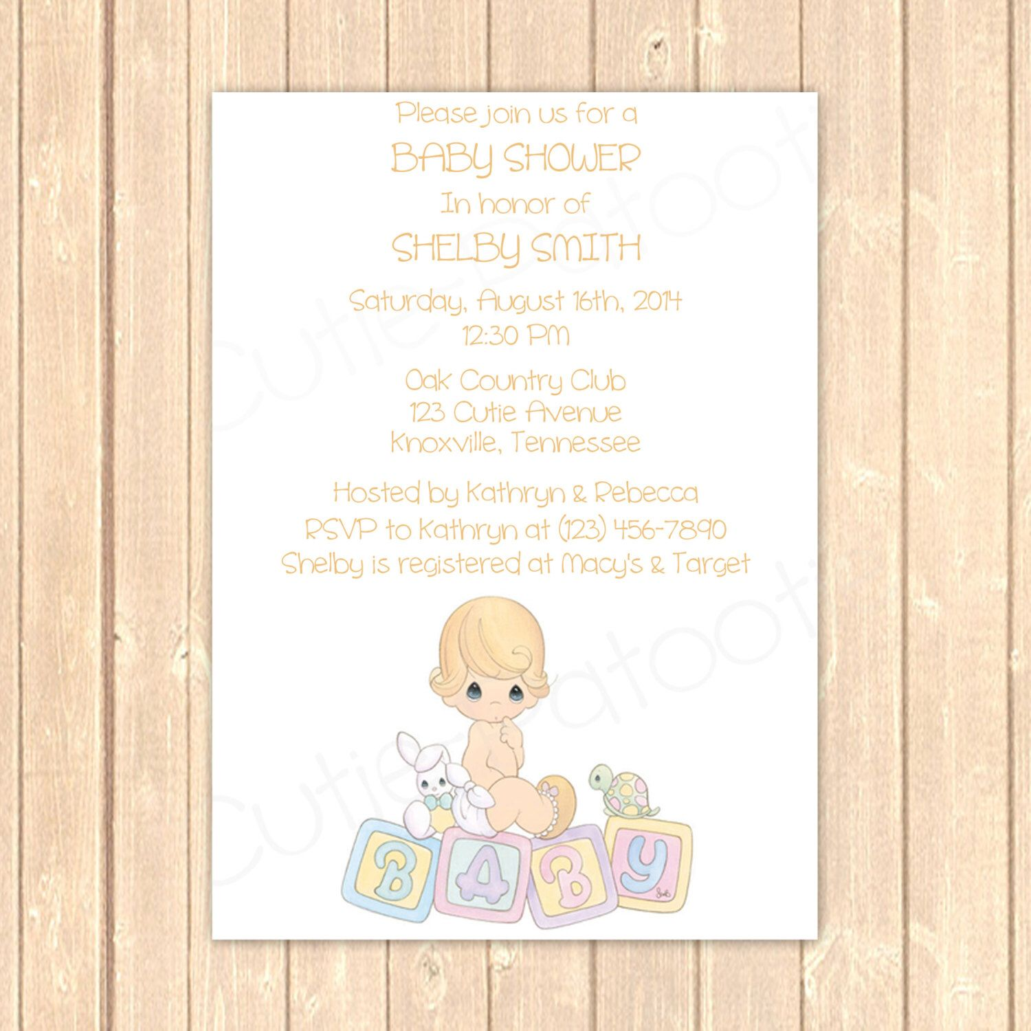 Precious Moments Baby Shower Invitation Personalized Pdf And Jpeg File By Cutiepatootieroomie On Etsy Https