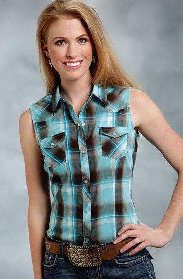 Roper Ladies Turquoise Chocolate Plaid Western Shirt $36.99