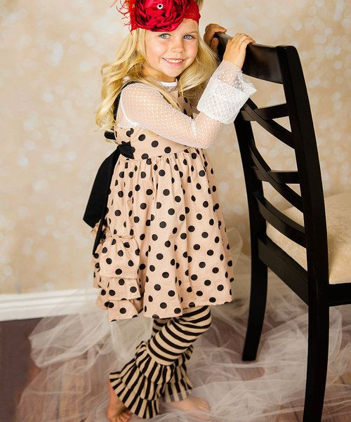 Look at this Oopsie Daisy Tan Polka Dot Ruffle Dress Set - Toddler & Girls on #zulily today!
