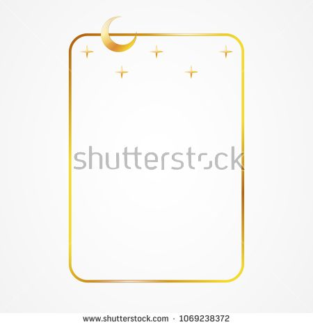 Vector Simple Golden Frame With Religious Symbols Moon And Stars