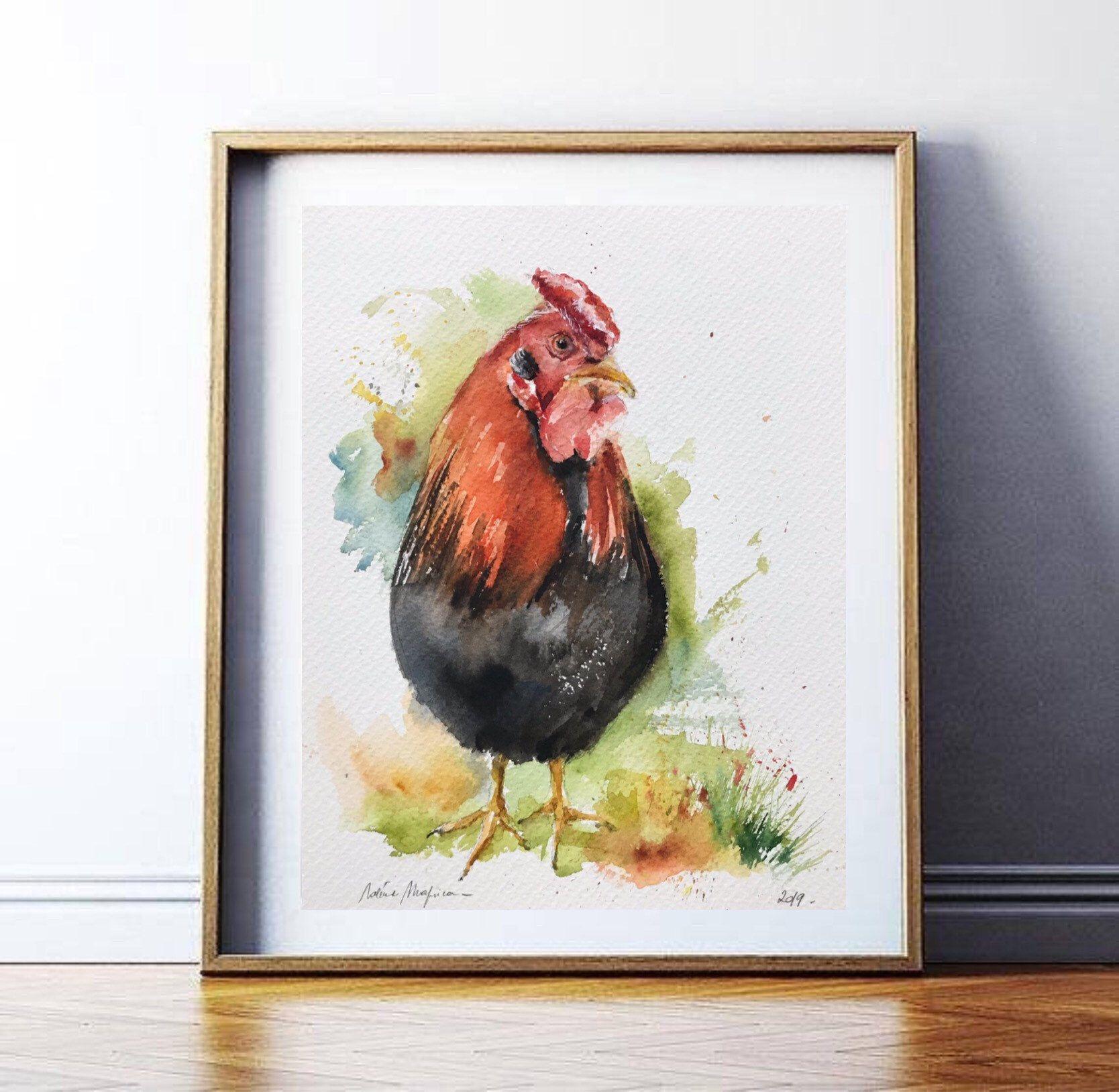 Aquarelle Peinture Originale Le Coq Peinture Animaliere Animal