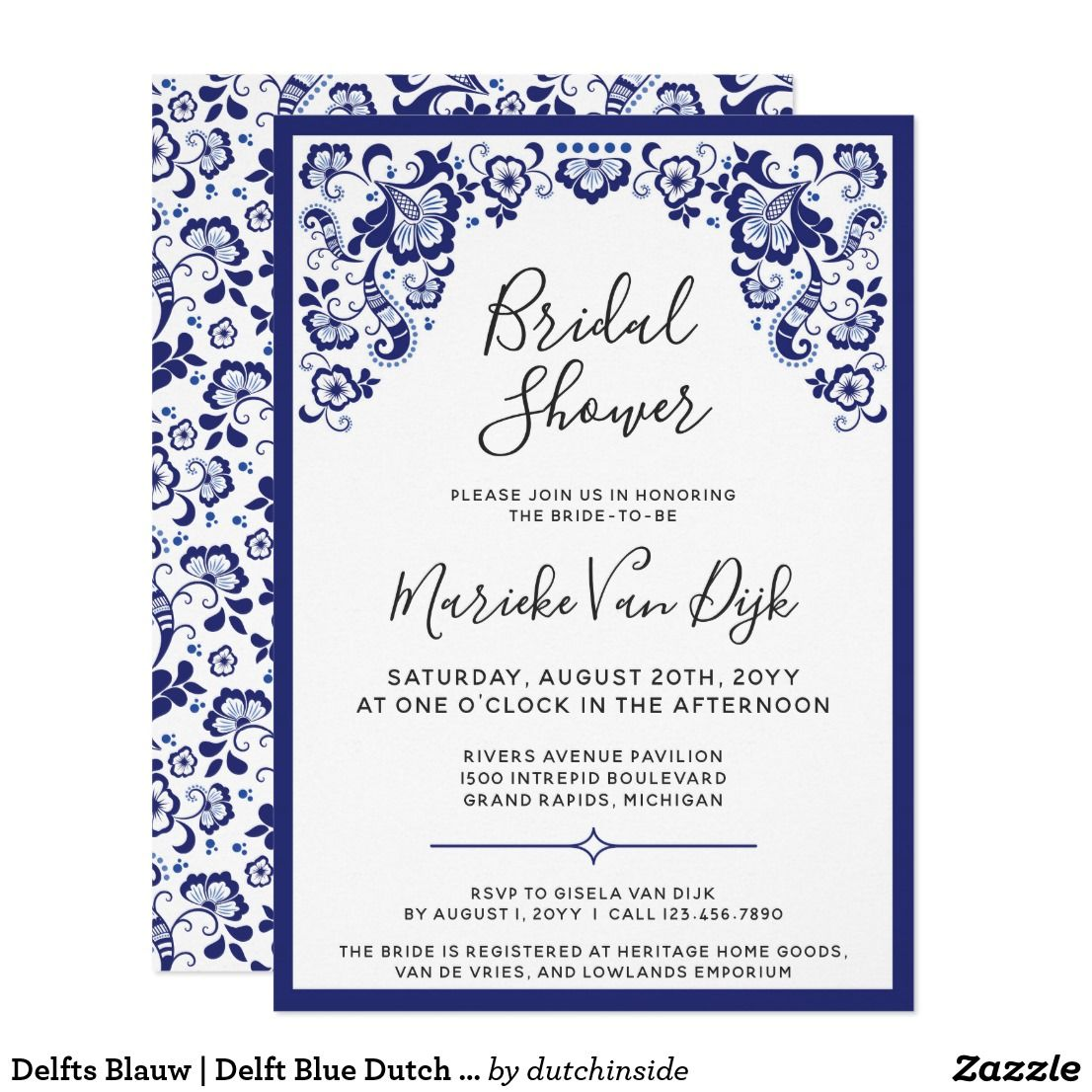 Delfts Blauw Delft Blue Dutch Bridal Shower Invitation Delfts