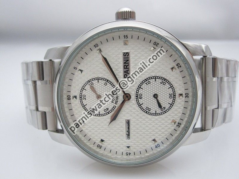 Parnis 43mm textrured white dial power reserve SEA - Automatic - Parnis watch station