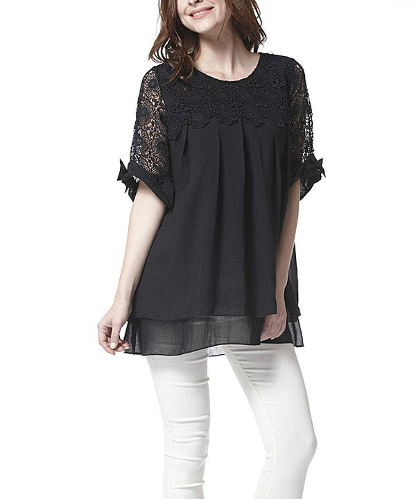 Look at this Simply Couture Black Lace Pleated Swing Top on #zulily today!