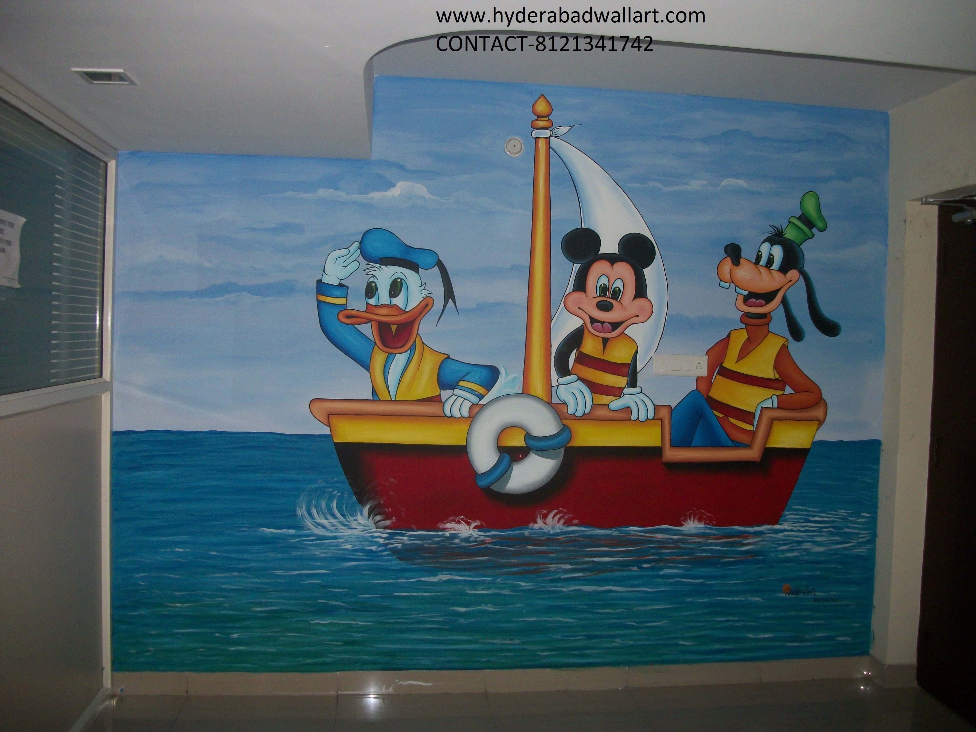 Mickey Mouse Minnie Mouse And Donald Duck Cartoon Wall Art Work For