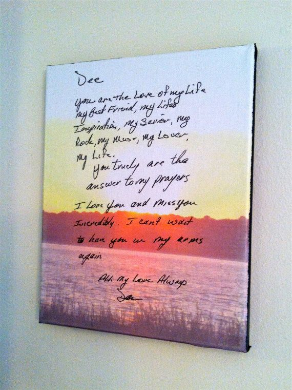 Your Own Handwriting On Wall Canvas Love Letter By