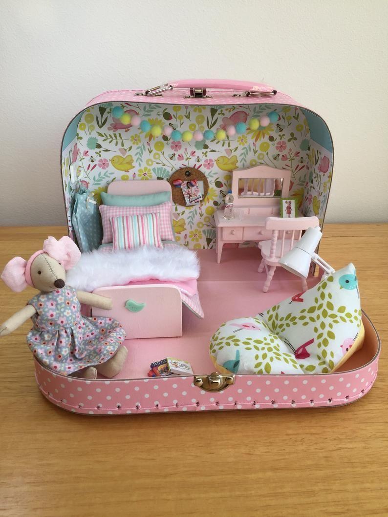 Travel Doll House In A Suitcase Miniature Dollshouse Maileg