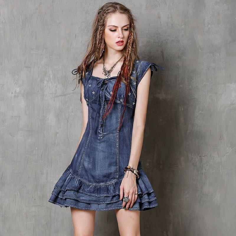 fa8fa5fbad Summer Dress 2017 Yuzi.may Vintage New Denim Women Dresses Short Sleeve  Ruffles Hem Ball Gown Vestido A8150 Vestidos Femininos