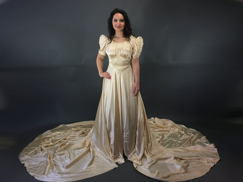 1940s Slipper Satin Wedding Dress, Champagne Puff Sleeve