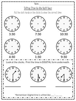 Worksheets Time To The Half Hour Worksheets 1000 images about telling time on pinterest creative free printables and student