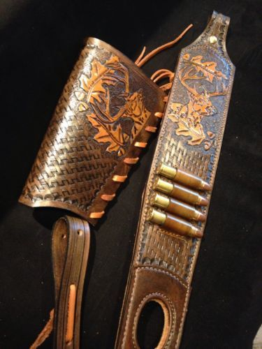 custom order leather sling and stock wrap for a marlin model 1895 45