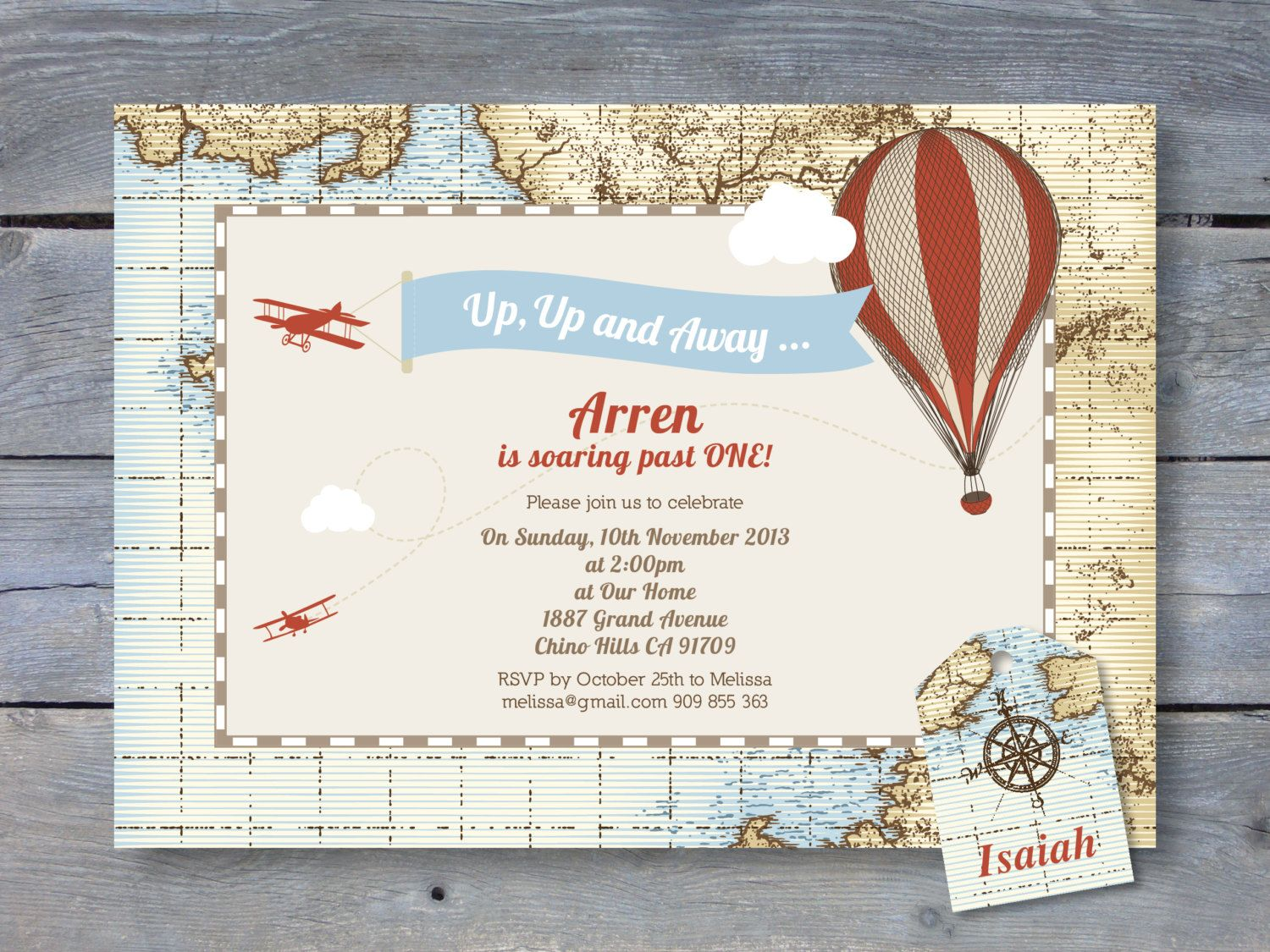 VINTAGE Hot Air Balloon Invitation for Birthday Party - 7x5 ...