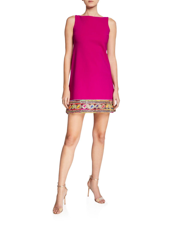 0a5498f09b92f Chiara Boni La Petite Robe Giuliana Kinari Bateau-Neck Sleeveless Mini Dress  w  Braided
