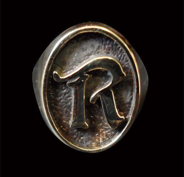 Bronze R Single Letter/Initial Ring - Custom Size - Free Shipping #Handmade #Signet