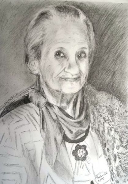 Portrait drawing with pencil by Peter Pavluvcik - Mother of the artist.
