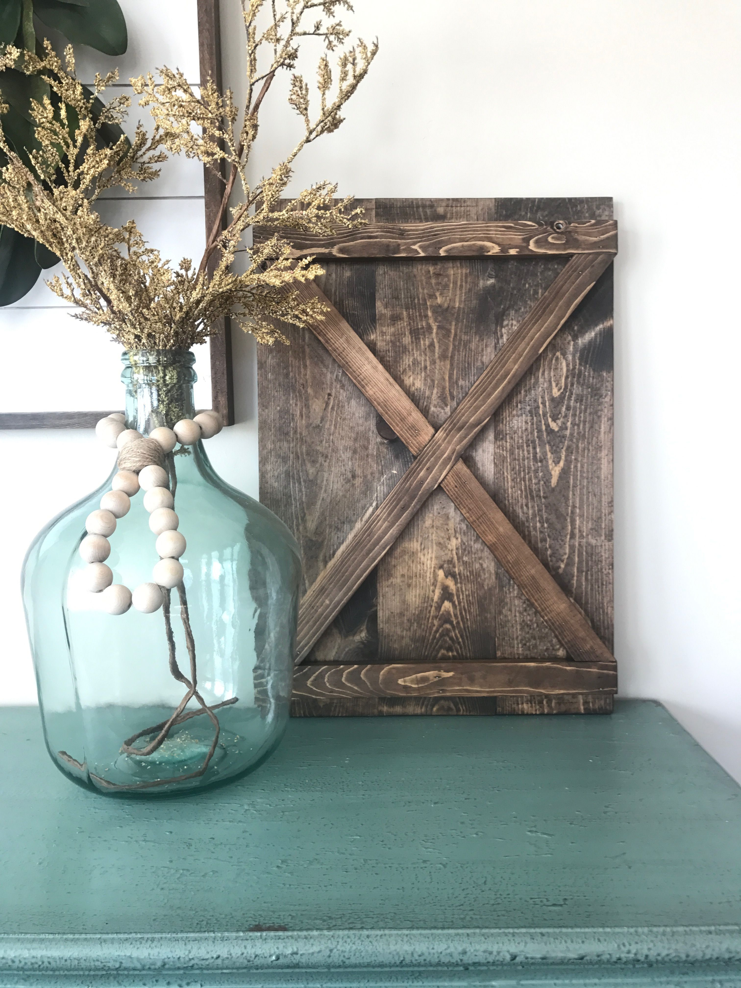 X Shaped Decorative Shutter. Interior Shutters. Farmhouse Shutter.  Farmhouse Decor. Glass Canister.