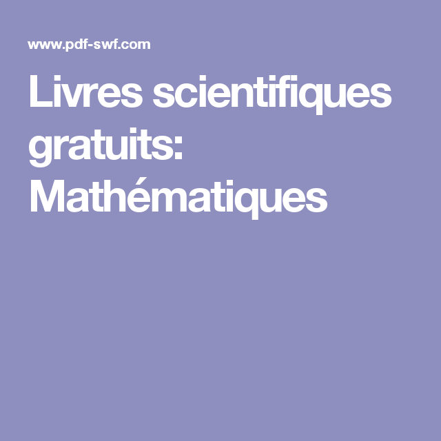 Livres Scientifiques Gratuits Mathematiques Data Science Math Science