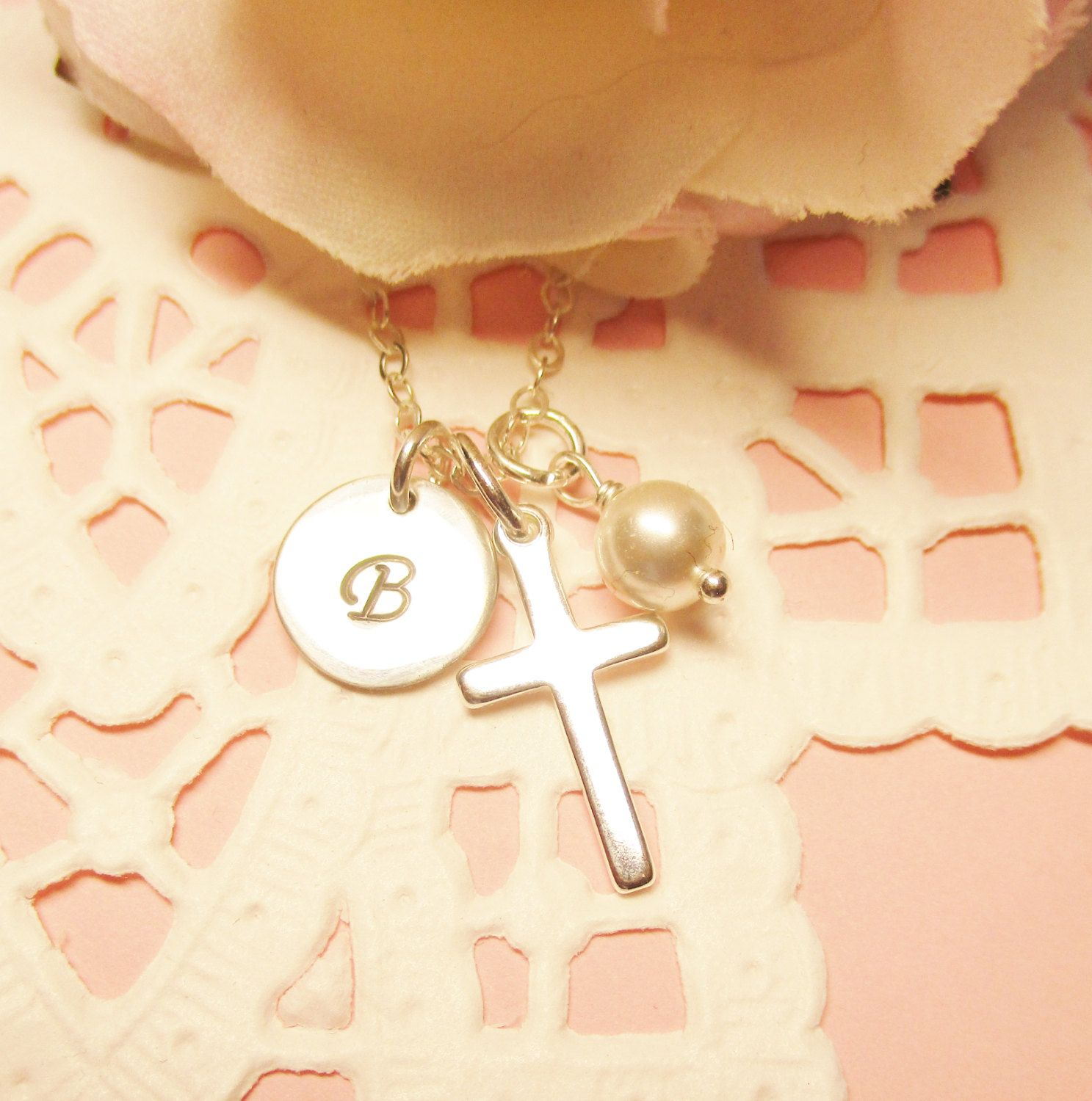necklace jewellery solid cross white anma product hallmarked baptism gold