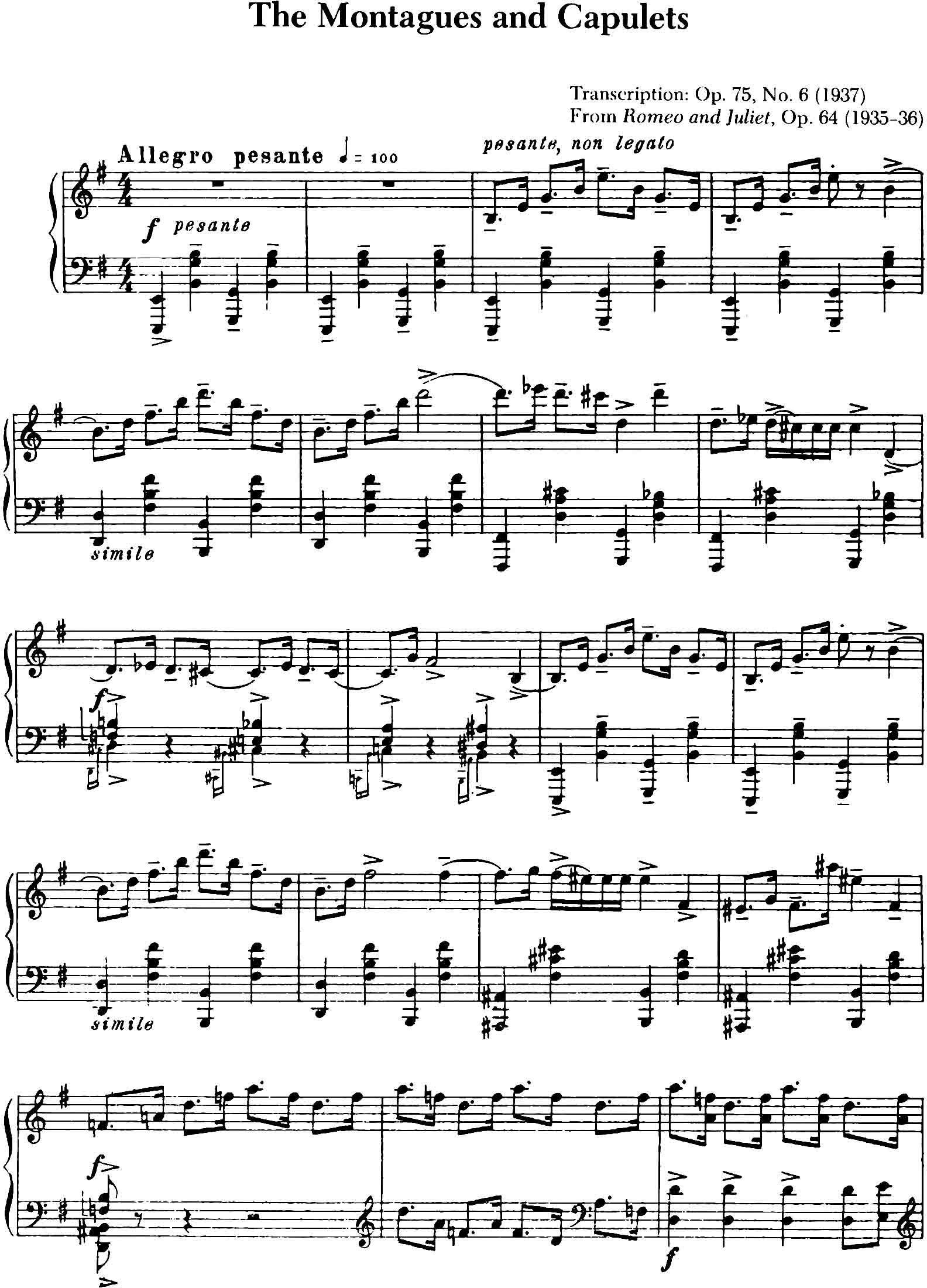 Sergei Prokofiev The Montagues & Capulets (Op75N10, 1937)