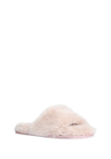 4ffb7edb39b4 Tesco direct: F&F Faux Fur Open Toe Mule Slippers | Slippers ...