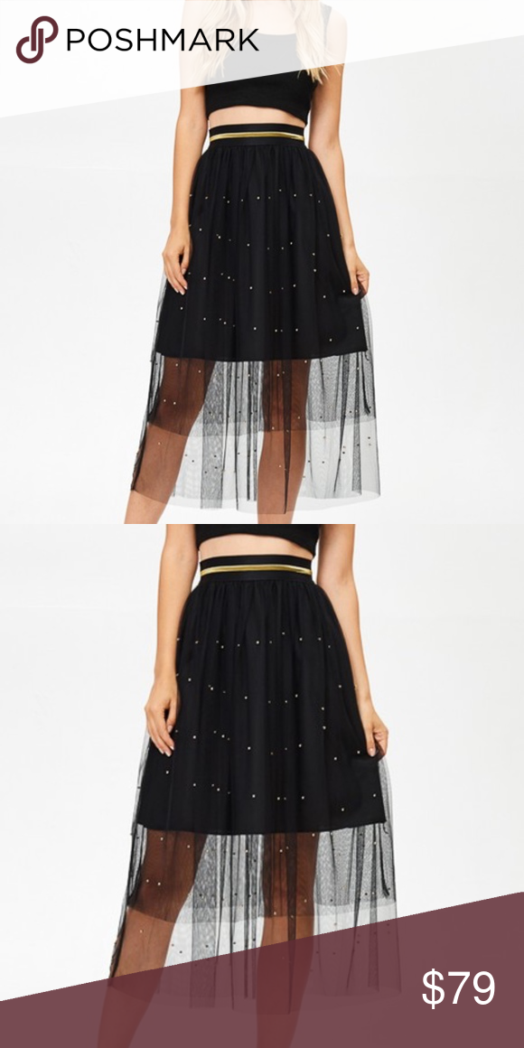 221cdad40 Black Tulle Pearled Skirt Glam mesh tulle skirt with gold detail band waist  and pearled skirt. Available in pink, black, and gray. Skirts Midi